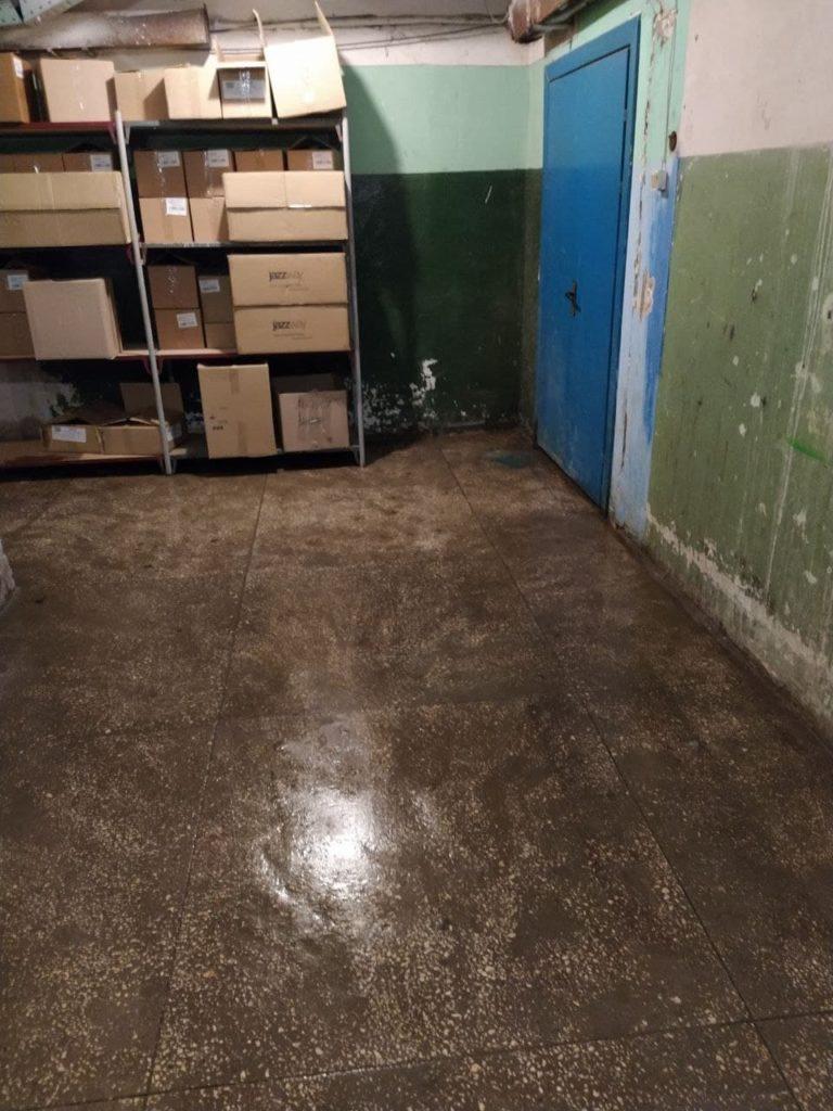Уборка затопленного подвального помещения